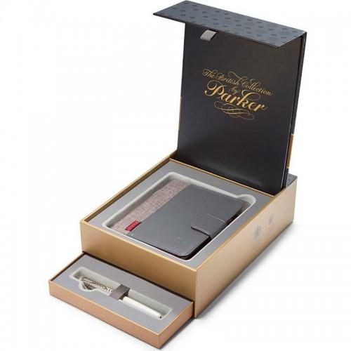 Подарочный набор из перьевой ручки Parker (Паркер) Sonnet Pearl CT F 18К и блокнота в Новосибирске