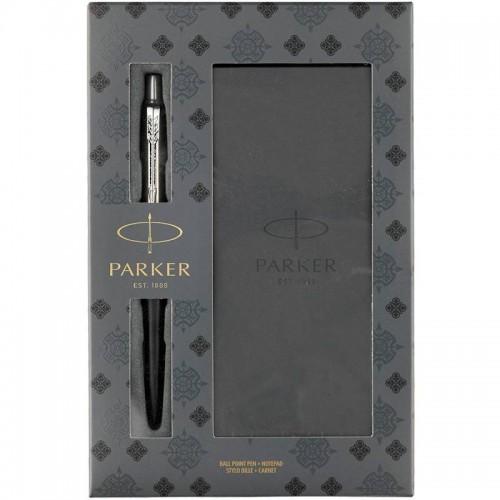 Подарочный набор из шариковой ручки Parker (Паркер) Jotter Core Bond Street Black CT и блокнота в Новосибирске
