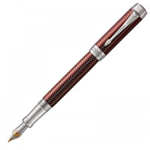 Перьевая ручка Parker (Паркер) Duofold Prestige Centennial Burgundy Chevron CT F в Новосибирске